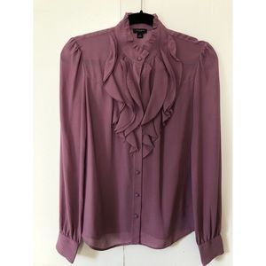 Ann Taylor Ruffle Structured Blouse